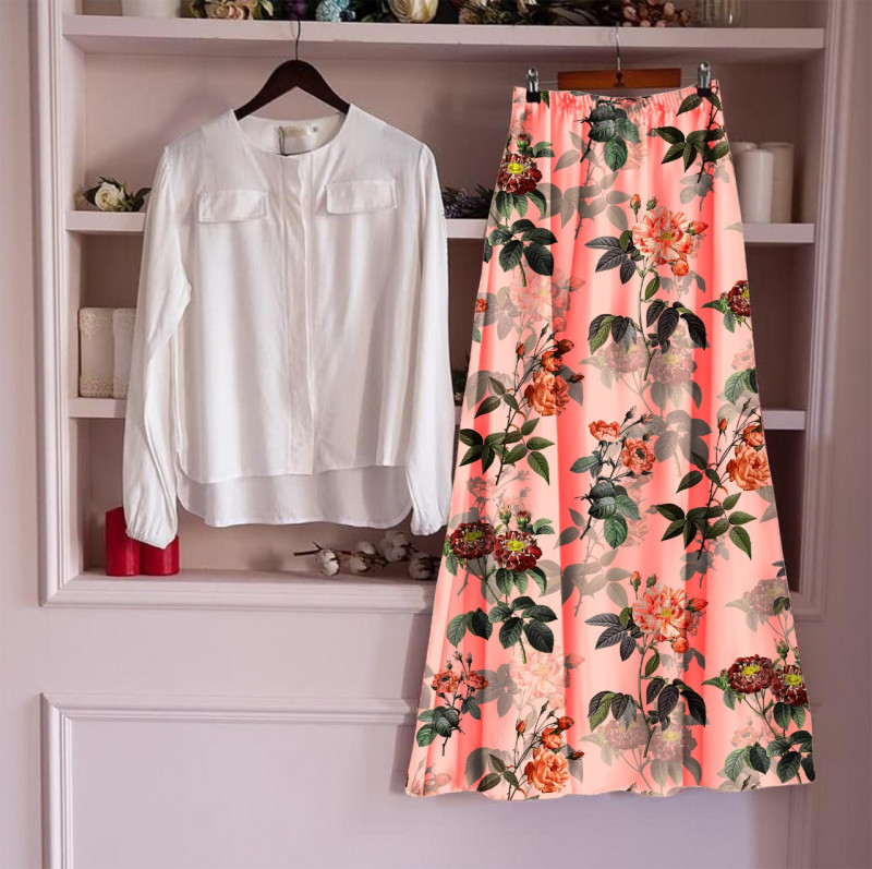 Women's  Top With Long Skirt Set 1_White