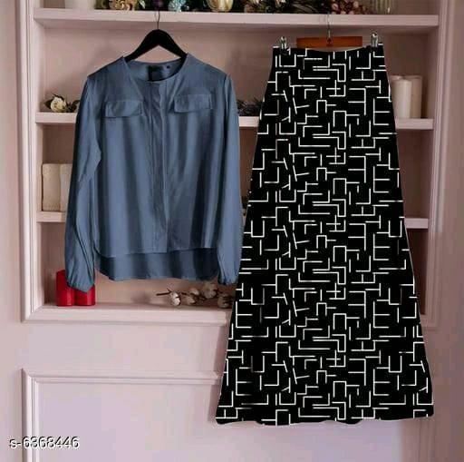 Women's Rayon Top With Long Skirt Set  27_Grey