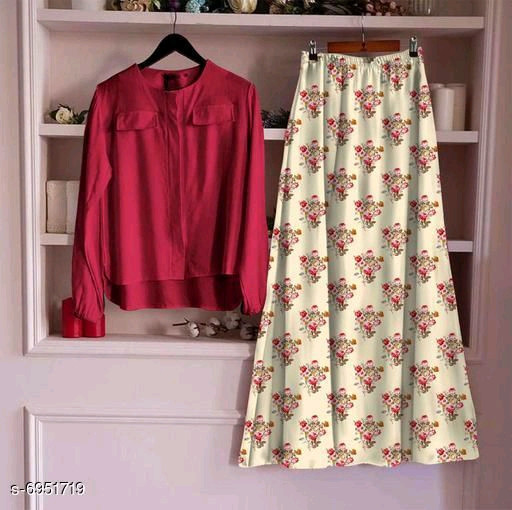 Women's Rayon Top With Long Skirt Set C 22_Red