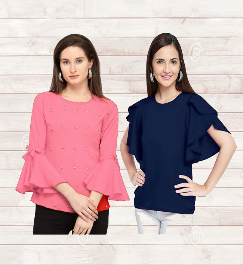 Casual Wear Embroidered Women Tops & Tunics (Set Of 2)