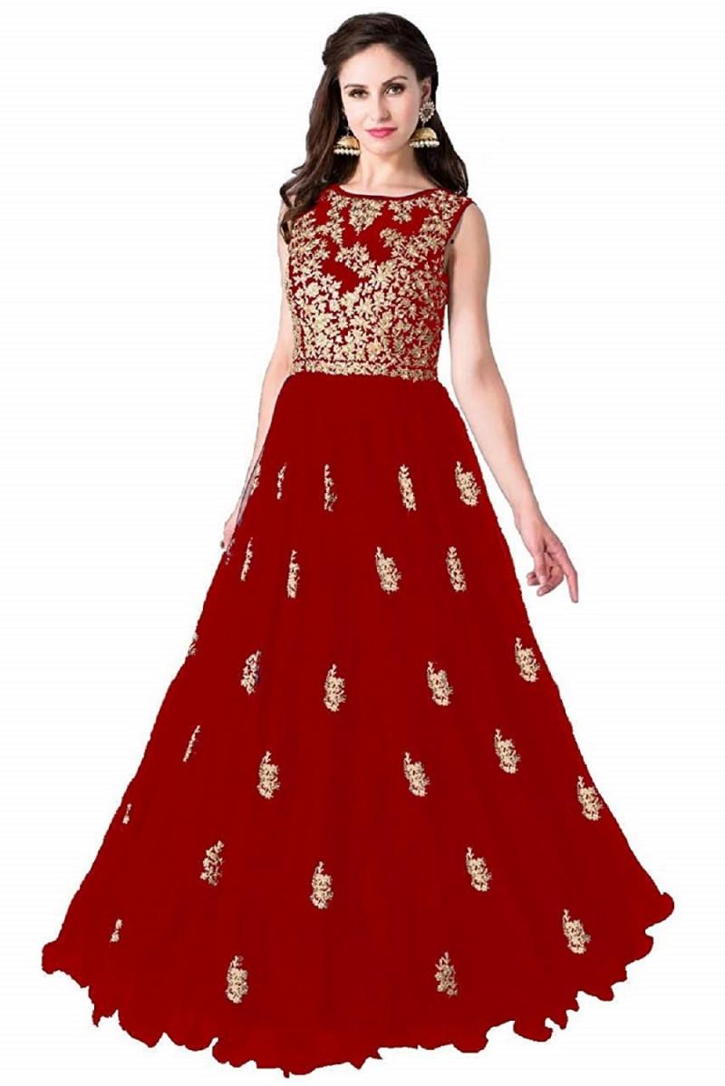 Net Embroidered Gown/Anarkali Kurta & Bottom Material (Semi Stitched)