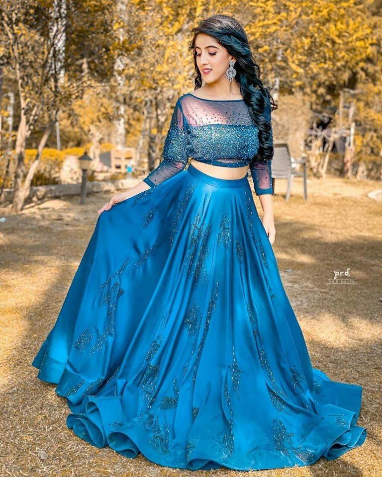 Sameeksha Sud Tik Tok Star Blue Party Wear Crop Top Lehenga