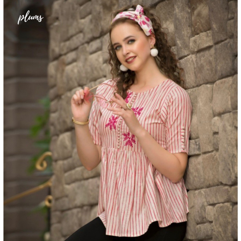 Pink striped cotton contemporary stylish top