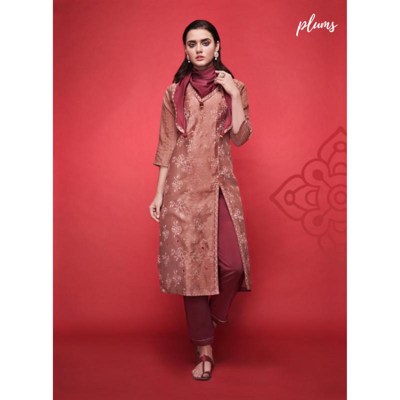 Red chanderi silk embroided kurta paired with satin fabric stylish stole & silk bottom