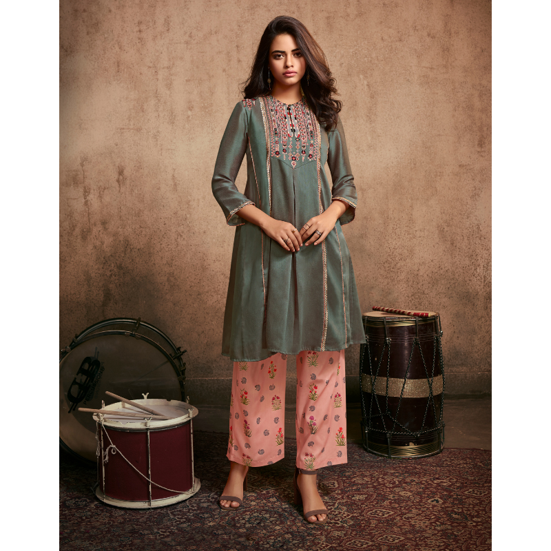 Grey Berry Silk Embroided Kurta Paired with Muslin Digital Printed Palazzo