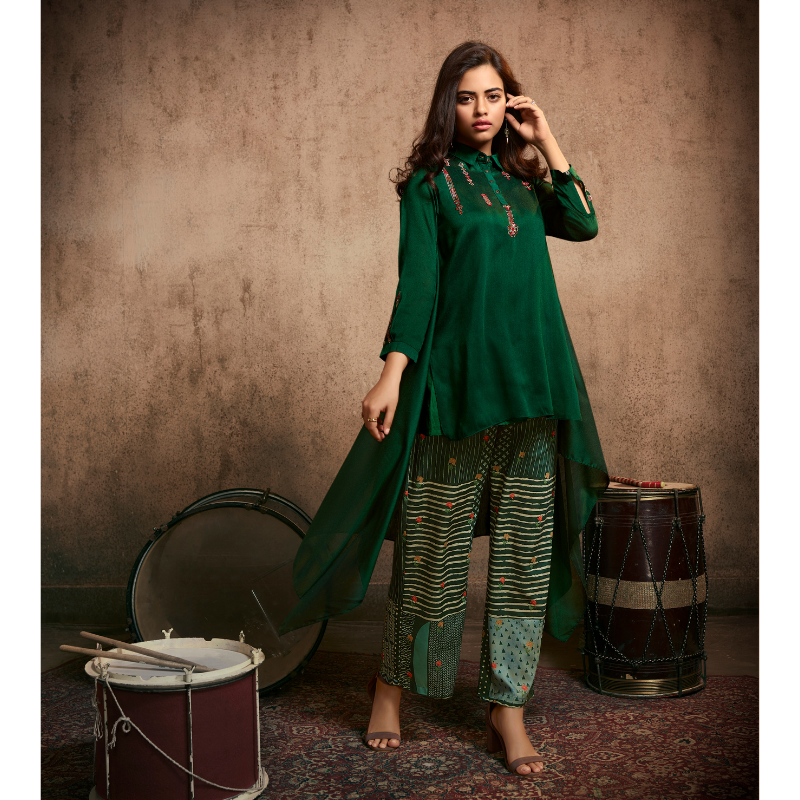 Forest Green Berry Silk Embroided Kurta Paired with Muslin Digital Printed Palazzo