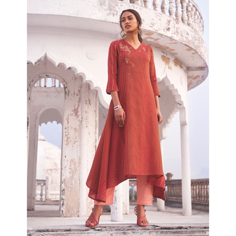 Red linen Cotton Handwork Embroided Kurta Paired with Rexon Bottom
