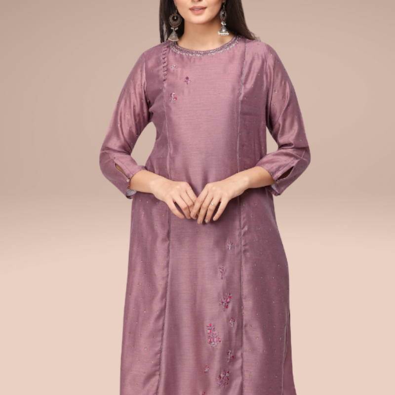 Wine color foil printed berry silk embroidered  kurta, paired with matching modal rexon palazzo having partial elasticated waist