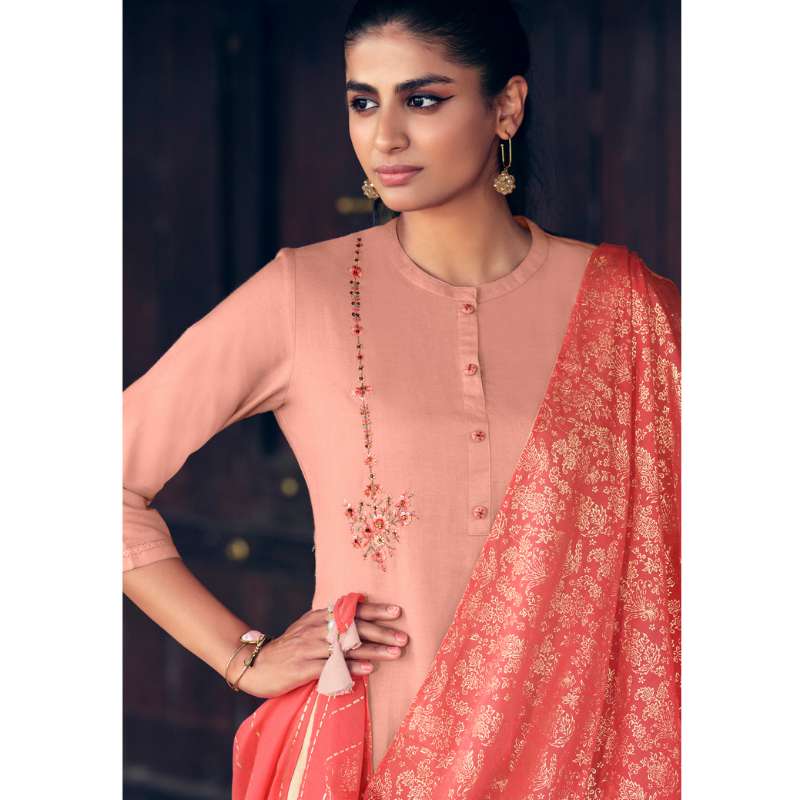 Indian Red Kashmeree Embroidery Linen Cotton Kurti with Bright Red Malmal Cotton Foil Printed Stole Paired with Rexon Embroidery Palaazo