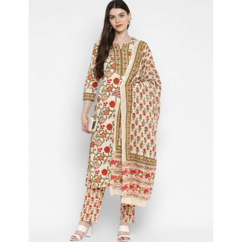 ROYAL OFF WHITE PURE COTTON FLORAL PRINT KURTI WITH PRINT DUPATTA PAIRED WITH MATCHING PRINTED PALAZZO