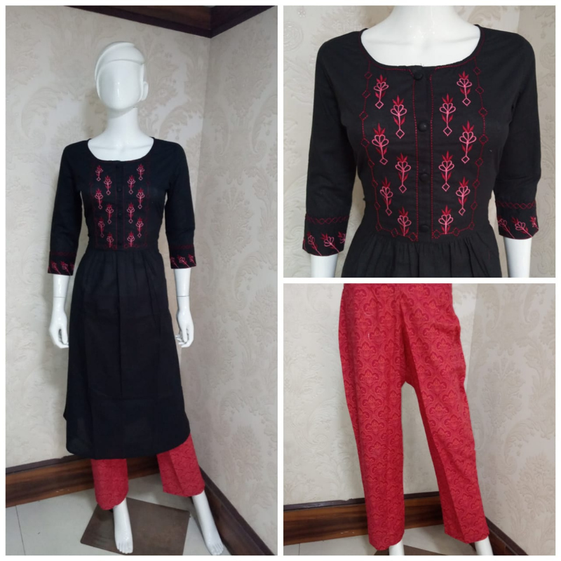 SMOKEY BLACK PURE COTTON EMBROIDERY KURTI PAIRED WITH CHERRY RED PRINTED PALAZZO