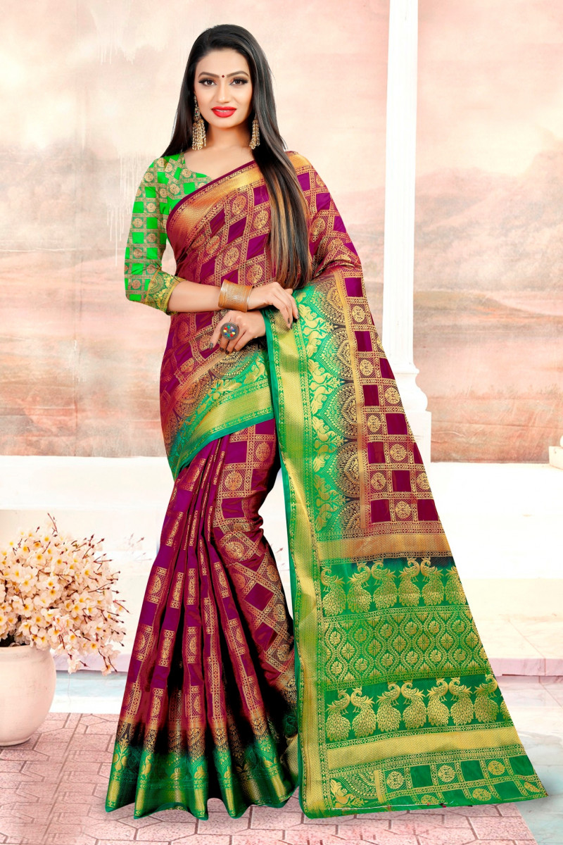 Patola Silk Saree With Wine Color in Fancy Golden Thread Work