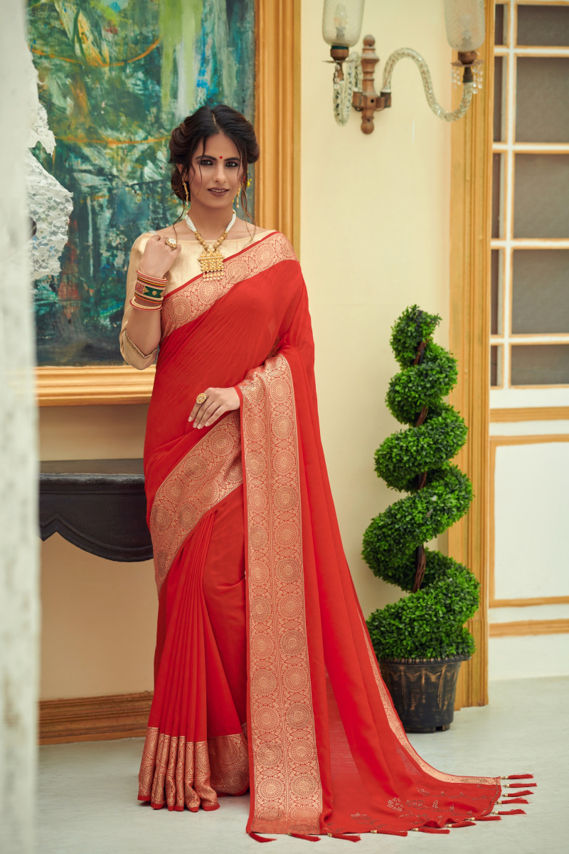 Red Vichitra Silk Party Wear Embroidery Work Saree