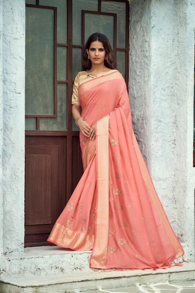 Latest Designer Pink Vichitra Silk Party Wear Saree