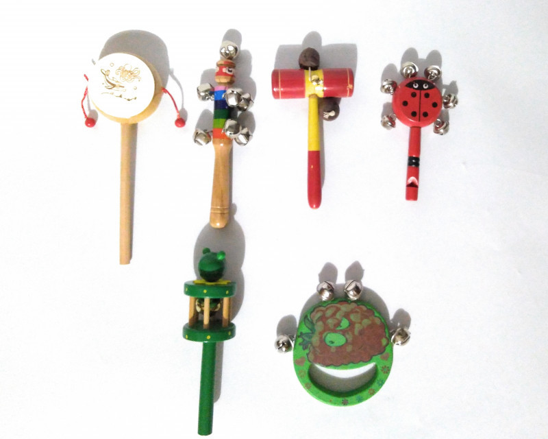 Baby Rattle Pack of 6 Rattle Toys Drum-1, Tik Tik-1, jingle-3, Jingle with whistle-1