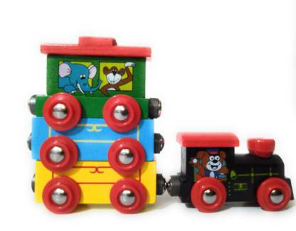 Wooden Super Magnetic Train Toy Set for Kids Toddler Boys and Girls
