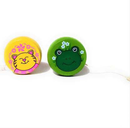 Wooden Cartoon Yellow And Green YO-YO Spinner Toys For kids Gift Children Nostalgic Classic Toys (Pack of 2)