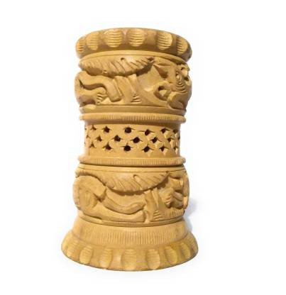 White Wooden Carving by India Artist Beatiful Round Shape Pen Stand/Pen Holder for Office use and deskware