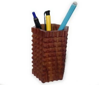 Wooden Carving Hexagon Shape Pen stand Office decorative Beautiful Pen Holder