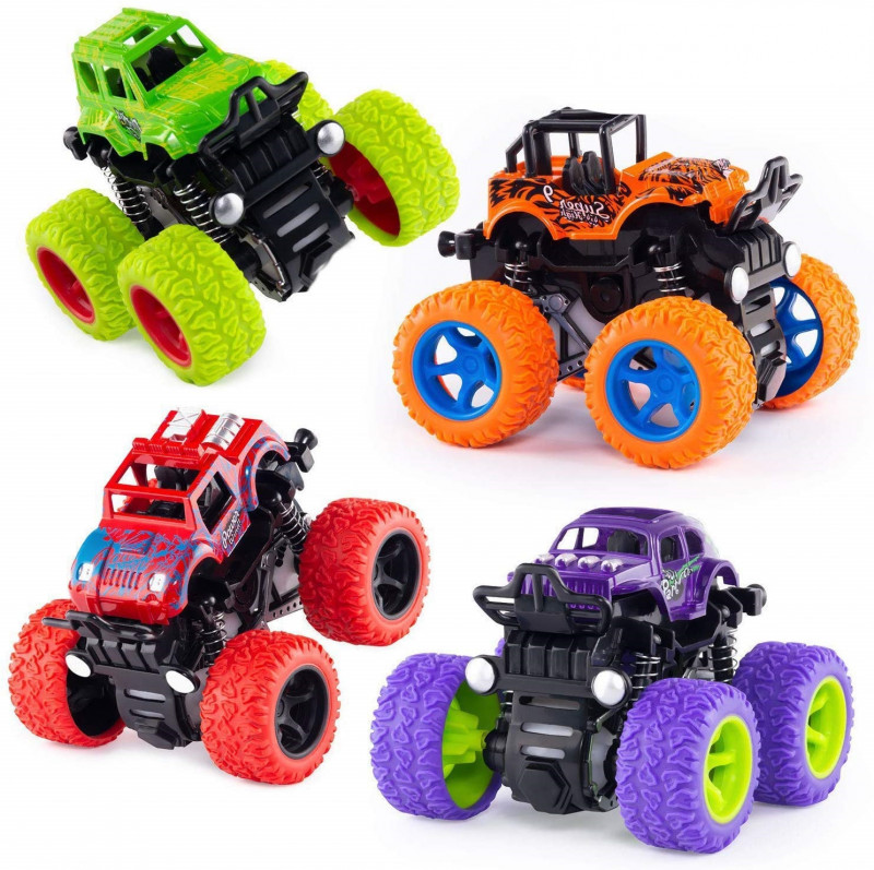 Thunder racing 4WD 4 Pack Monster Truck Cars 4 Wheel Drive Vehicles for Toddlers Children