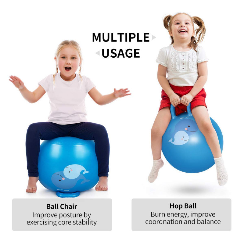 Hopping Bouncing Inflatable Sit and Bounce Hop Ball 3 to 6 Year 18 inch