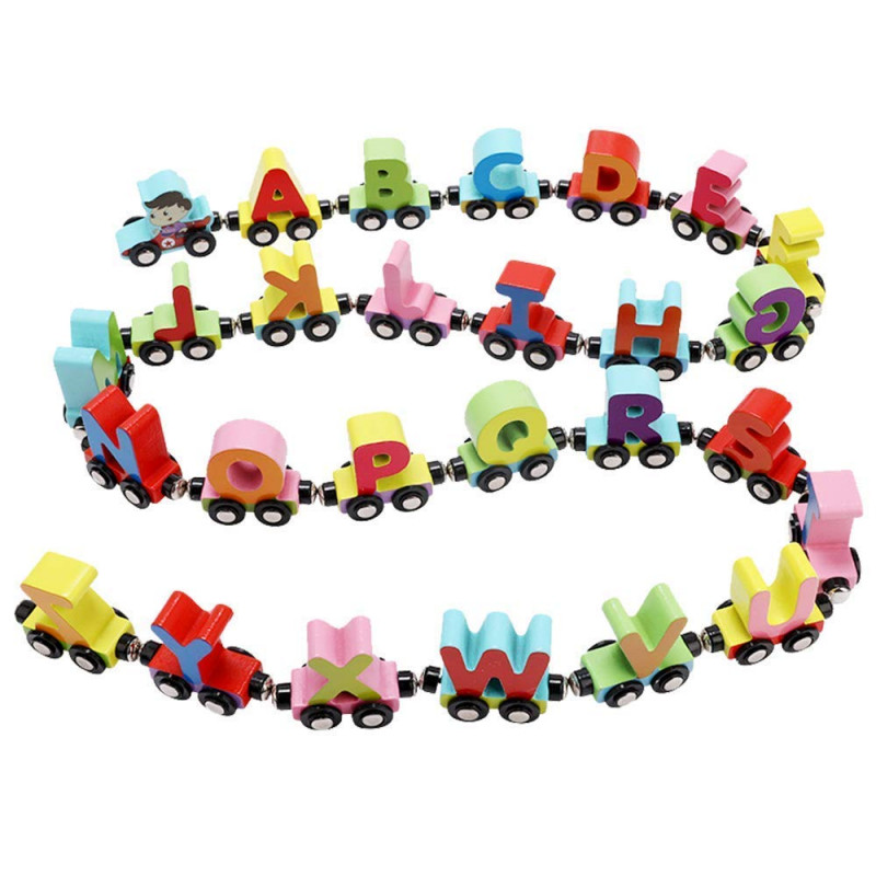 Wooden A to Z Train Set Multiple Colored 26 Alphabet with Engine and Last Trail in Fine Finish Quality