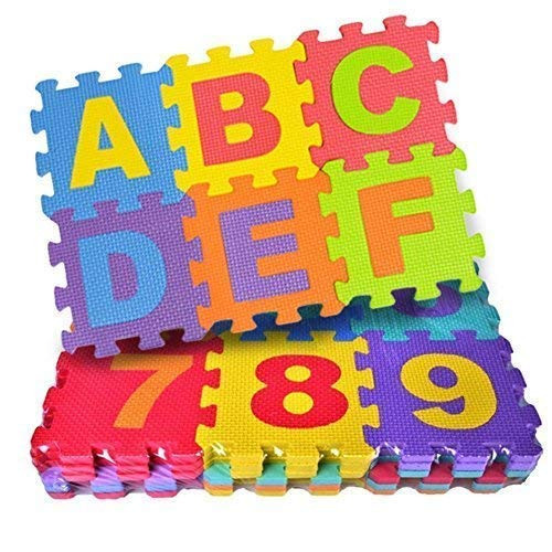 Kids Educational Interlocking Puzzle ABCD Alphabets Numbers 0 to 9 Puzzle Floor Mat for Kids Learn and Play