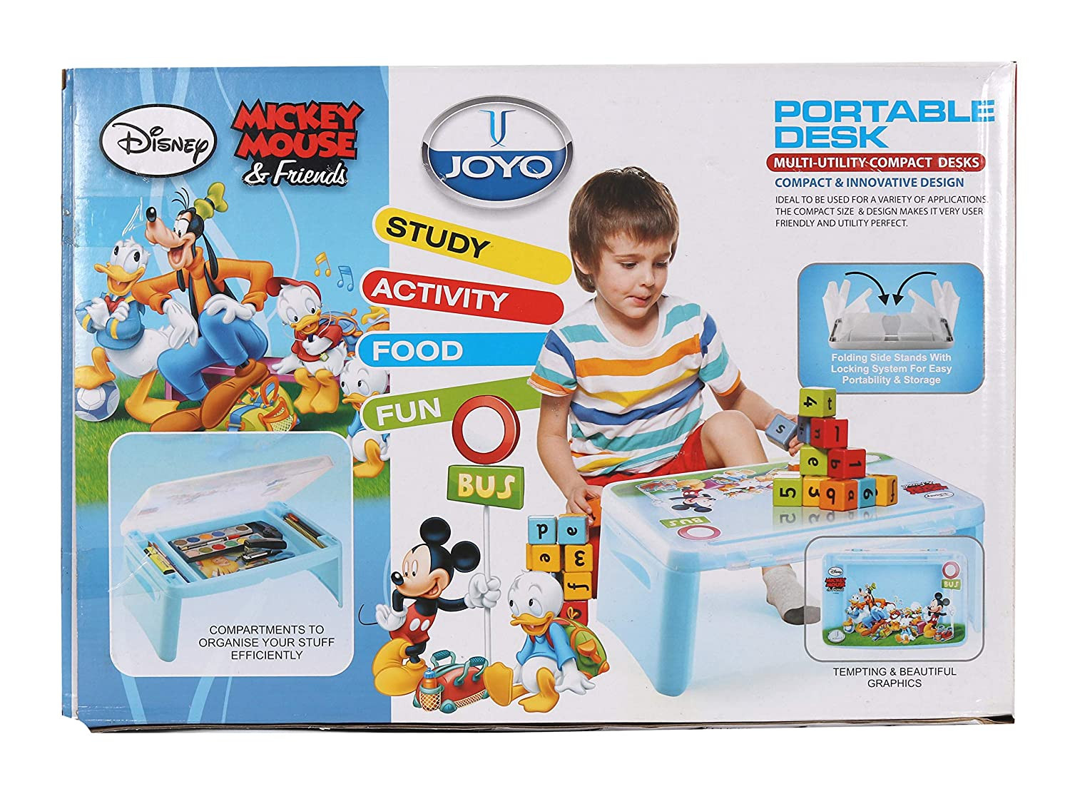 Joyo Disney Mickey Mouse N Friends Portable Desk Sky Blue Color Laptop Table Bed Table Study Table Kids Table