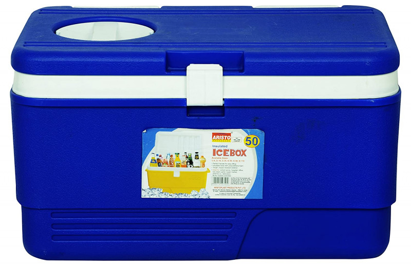 Aristo Plastic Insulated Chiller Ice Box with Vent Lid 50 Liter Blue color