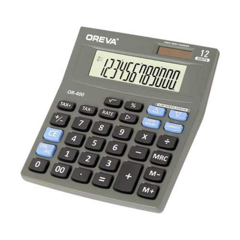 OREVA Calculator OR-400 for Office Home Business USE of Calculation Grey