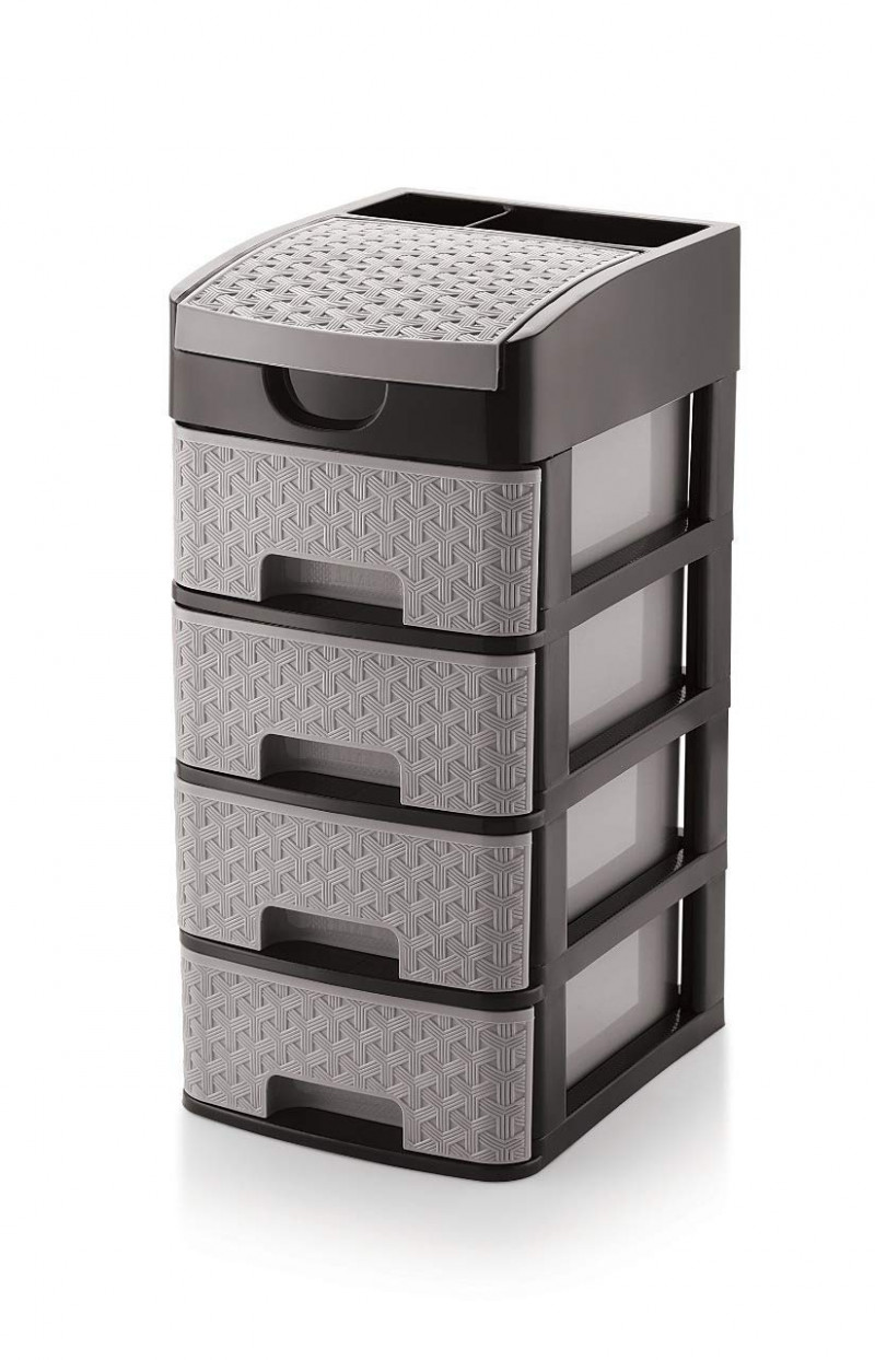 Liza Homace Liza Multipurpose Plastic Drawer System Organizer Rack Home and Kitchen 4 Layers, Grey