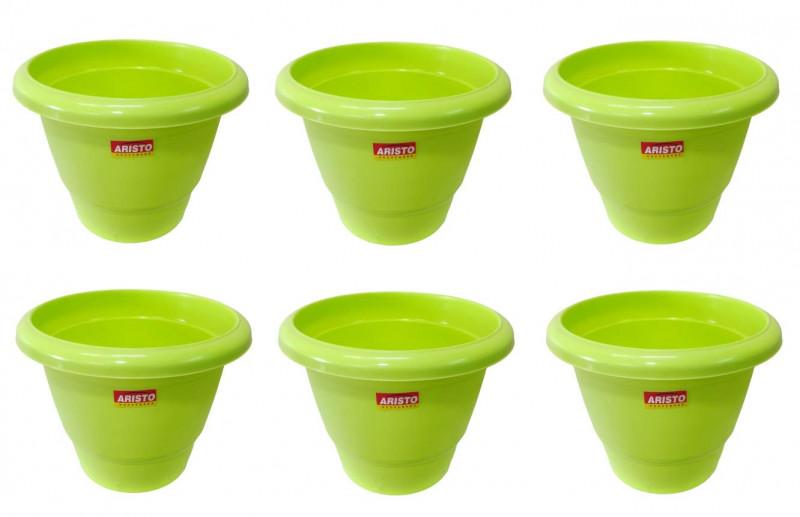 ARISTO Round Plastic Planter Pot Green 12 inches