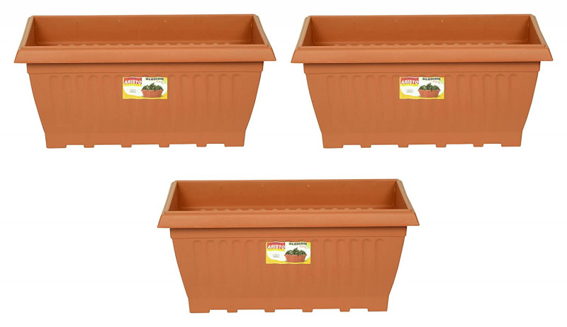 Aristo Plastic 20 Inch Planters Brown Pack of 3