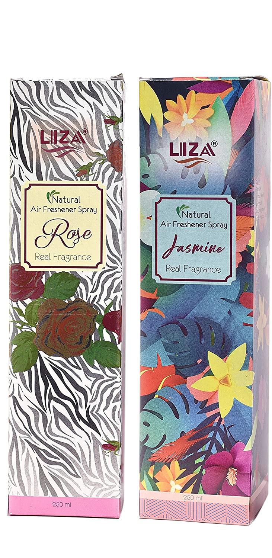 Liza room sprayhome and office air freshenercombo rose and jasmine 250 ml