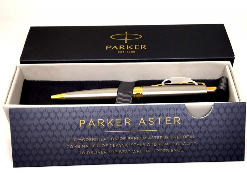 Parker Aster Brushed Metal Ball Pen With Gold Trim