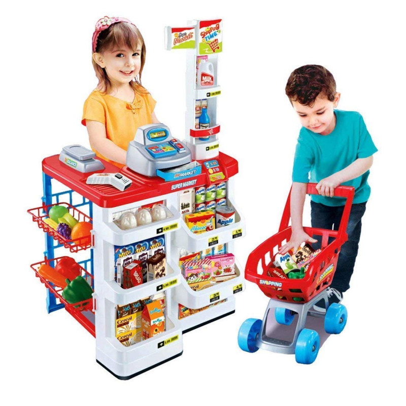Supermarket kit for Kids Toys with Shopping Cart and Sound Effects Kitchen Set Kids Toys for Boys and Girls