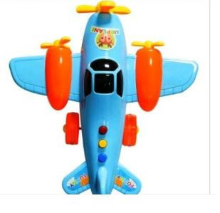 New Funny Airplane Model Plane Toy with Friction Power Light AndMusic Blue Colour