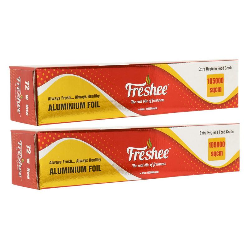 Freshee 105000sqcm Aluminium Silver Kitchen Foil Roll Paper Pack of 2 pcs