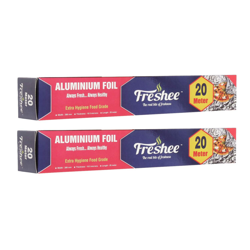 Freshee 20m Aluminium Silver Kitchen Foil Roll Paper Pack of 2 10.5 Micron