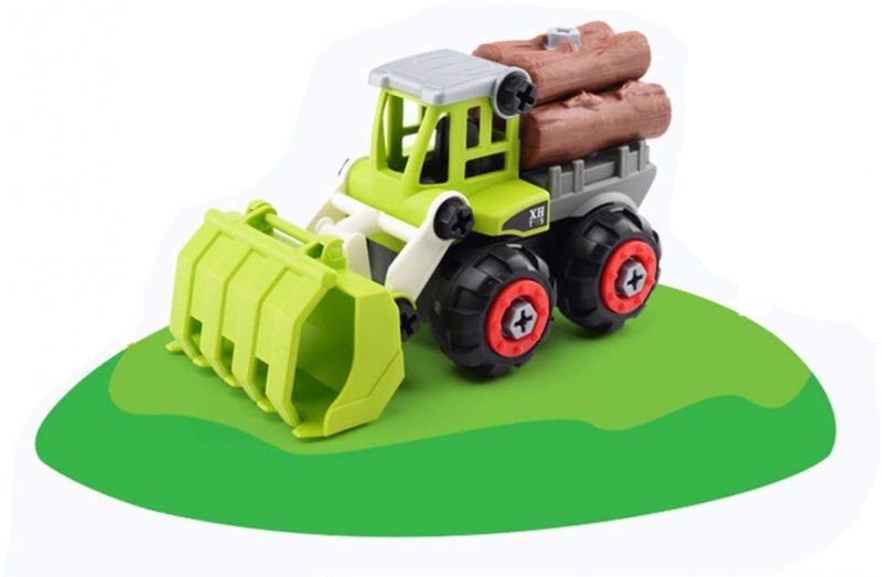 Agriculture Vehicle Big TractorToy Set withLogs and Service Lift Crane
