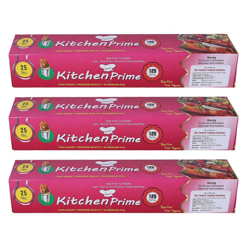Kitchen Prime 25 noFood Grade Aluminium Foil125gm Set of 3