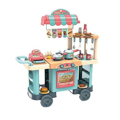 Kids Fast Food Shop Kitchen Set Toy With Cash Register And Wheel