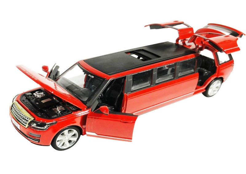 Kids Range Rover Car Pull Back Toy with Openable Doors Music Lights Effects for Kids With Metal Body Red In Colour
