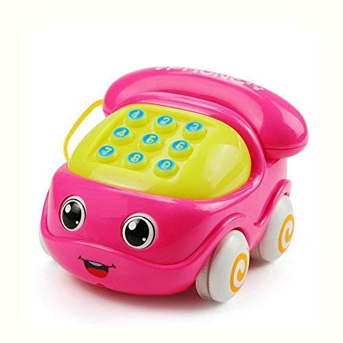 Kids small plastic electronic multifunctional cell telephone car toy musical instrument for kids baby Pink Color