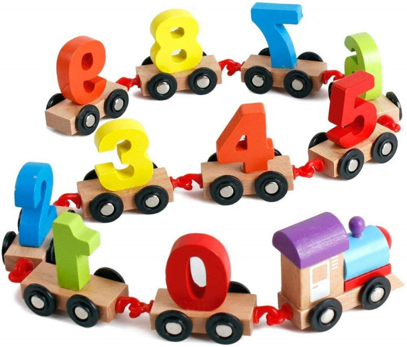 Kids wooden train educational model vehicle toys vehicle pattern 0 to 9 number educational learning toys