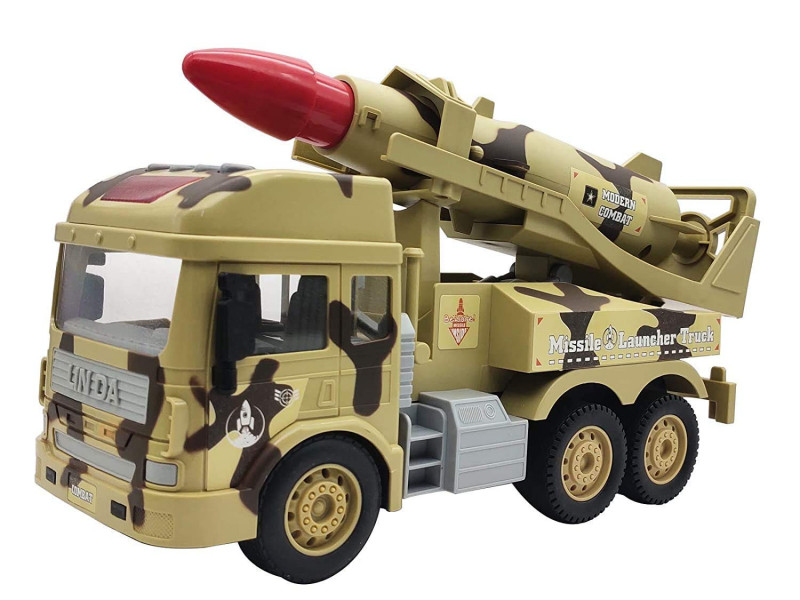 Go Missile Launcher Toy Army & Military Truck Toy Crawling Toy with Light Sound for Kids