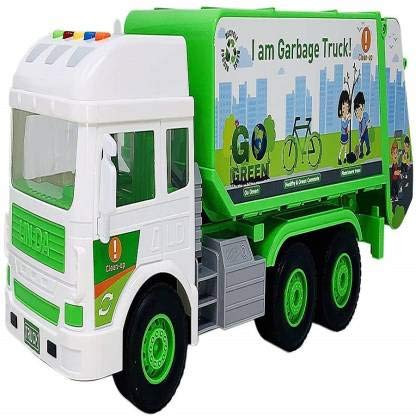 Kids Pull Back City Service Garbage Trucks with Light & Sound Green Colour