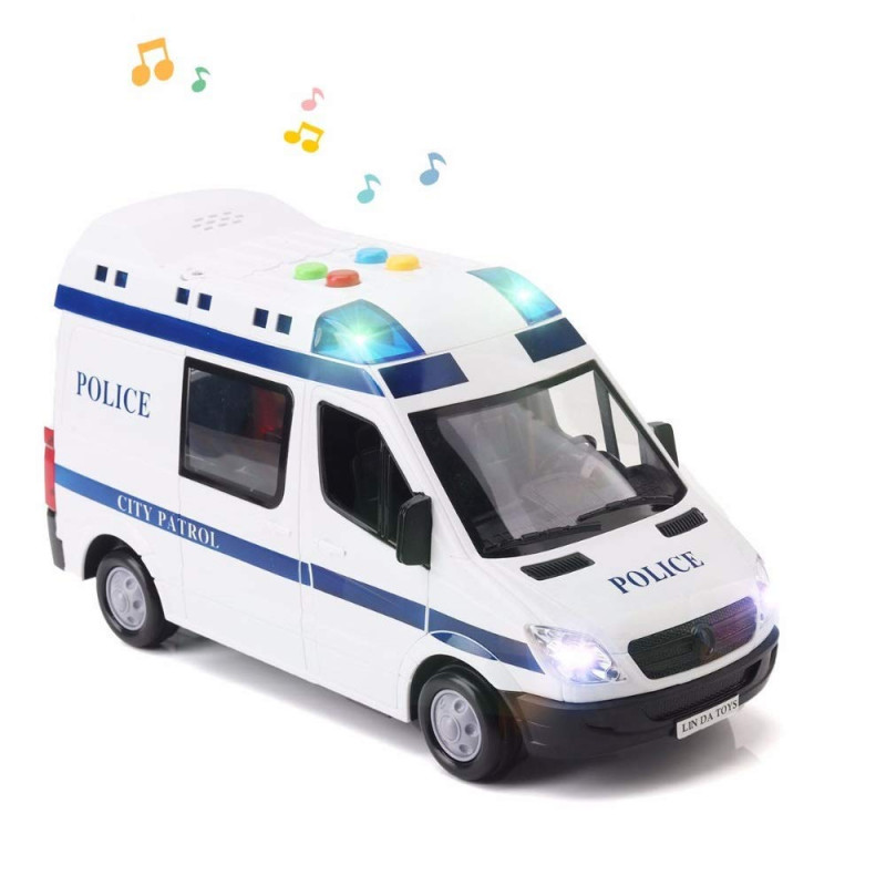 New Police Van Toy for Kids with Light & Siren Sound Effects Pull Back Friction Power Police Vehicle Toy