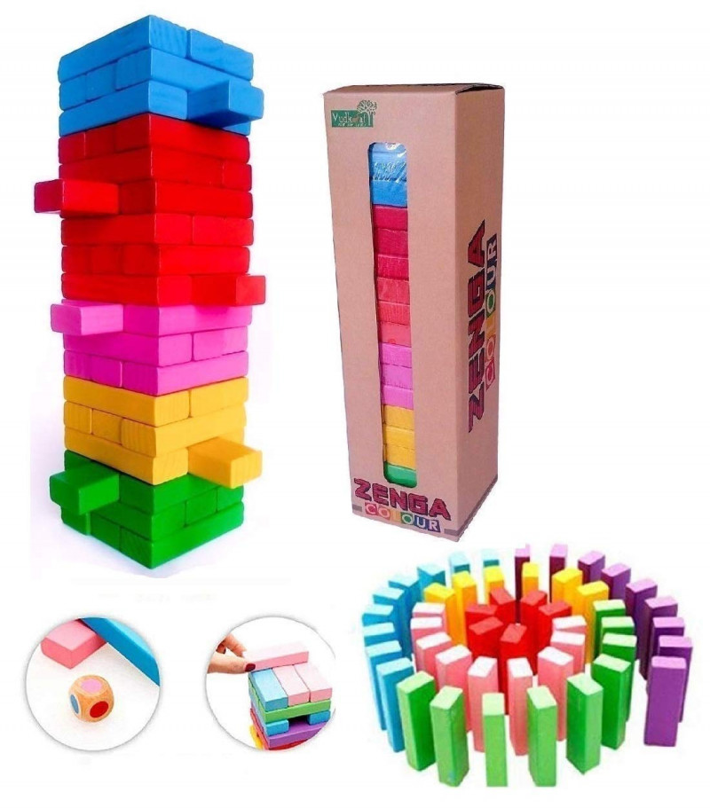 Wooden Blocks 54 Pcs Challenging Color Wooden Tumbling Tower Wooden Zenga Toys with Dices