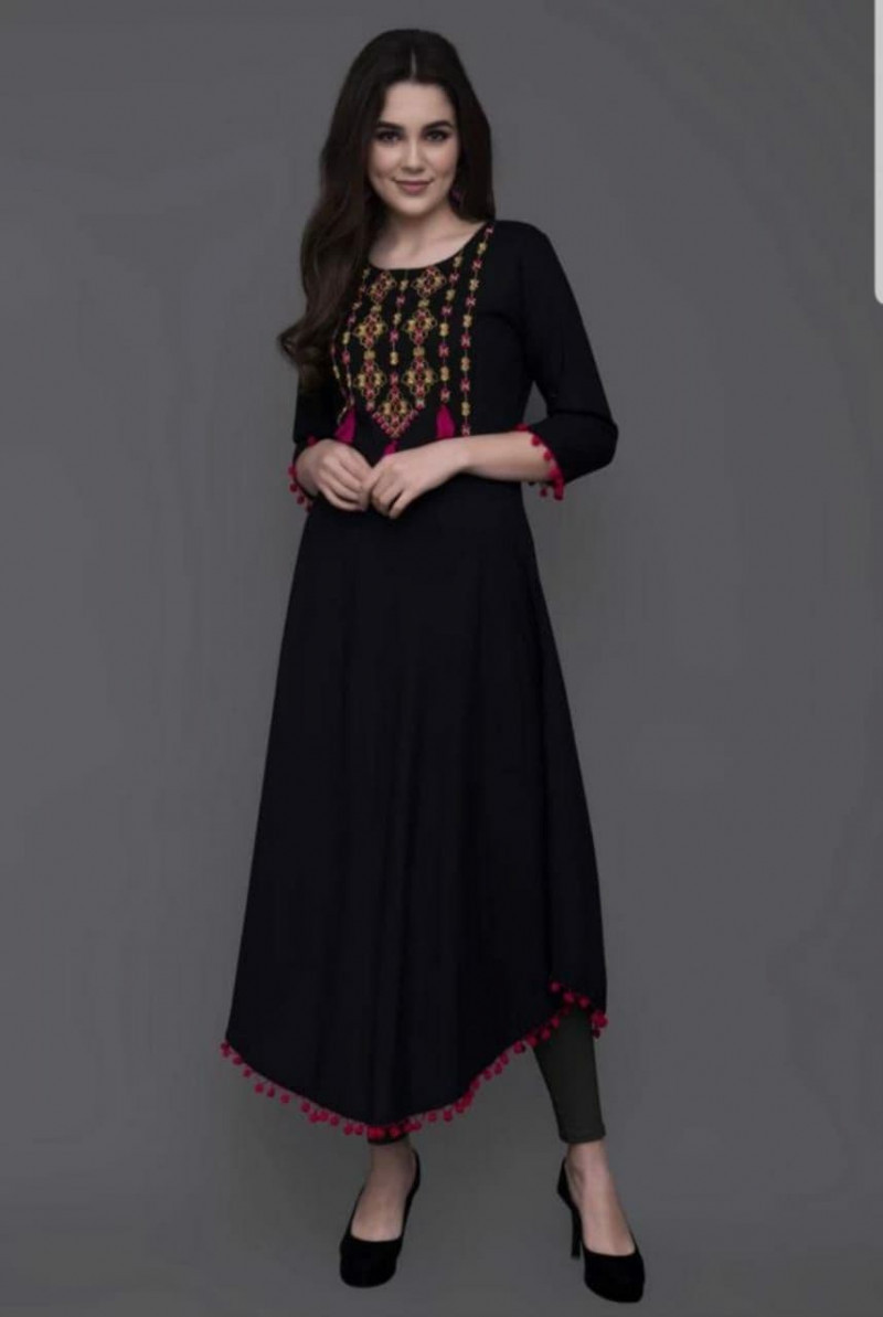 Stunning Festival Rayon Stitched Black Colour Kurti online available